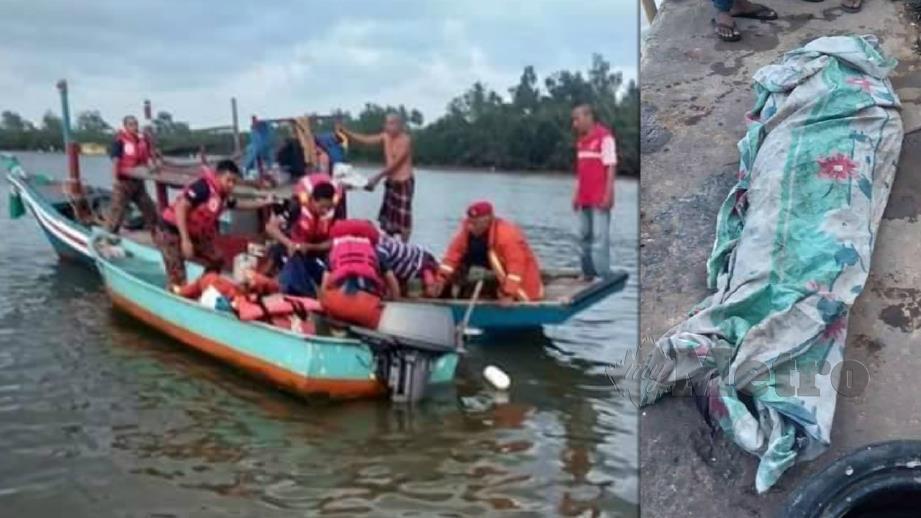 MAYAT Baharom yang lemas terjatuh dari botnya ditemui pasukan Bomba dan Penyelamat. FOTO Ihsan Pembaca