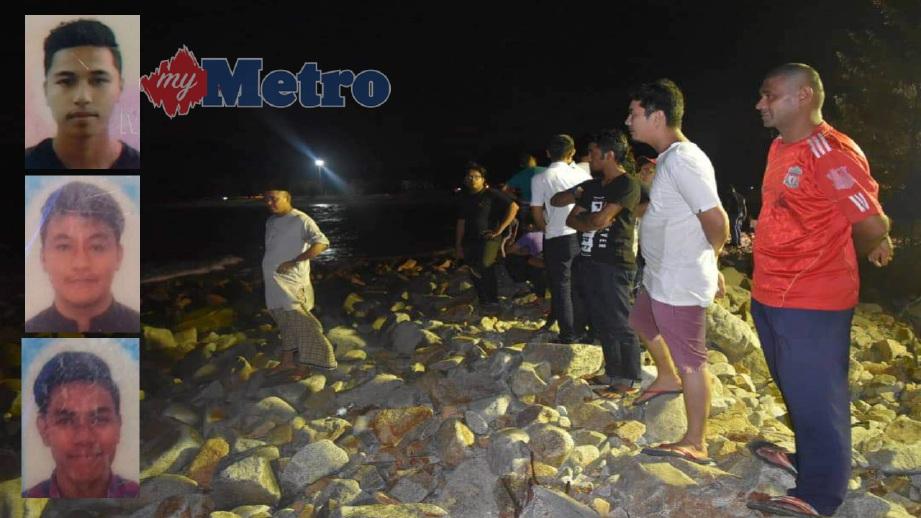 ORANG ramai melihat pasukan penyelamat melakukan operasi mencari dan menyelamat tiga sahabat yang hilang di pantai Teluk Kalong, Kijal, Chukai, semalam. Gambar kecil (dari atas) Khairil Ikmal Danial, Shahrir Aqil (tengah) dan Ahmad Daniel. FOTO Rosli Ilham