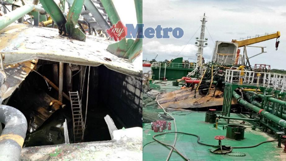 KESAN kerosakan akibat letupan ketika kerja-kerja penyelenggaraan di atas kapal di Tanjung Manis, Mukah, hari ini. FOTO Ihsan JBPM