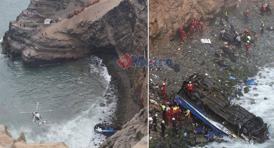 Keadaan bas yang terjunam dari tebing setinggi kira-kira 100 meter ke tepi laut menyebabkan 48 terbunuh di Peru. - Foto EPA/REUTER