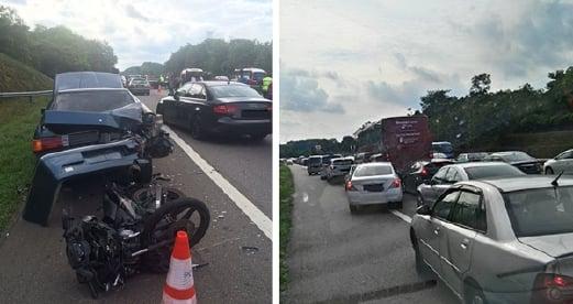Pandangan dari dalam ambulans yang terhalang pada 22 Mei lalu, ketika dalam perjalan ke lokasi kemalangan berhampiran susur keluar Simpang Ampat, Melaka.