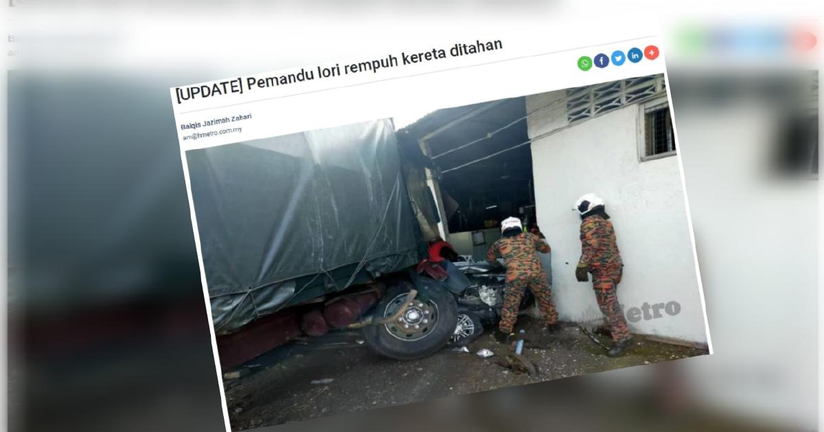 Siasatan lengkap, pemandu lori dibebaskan dengan jaminan polis
