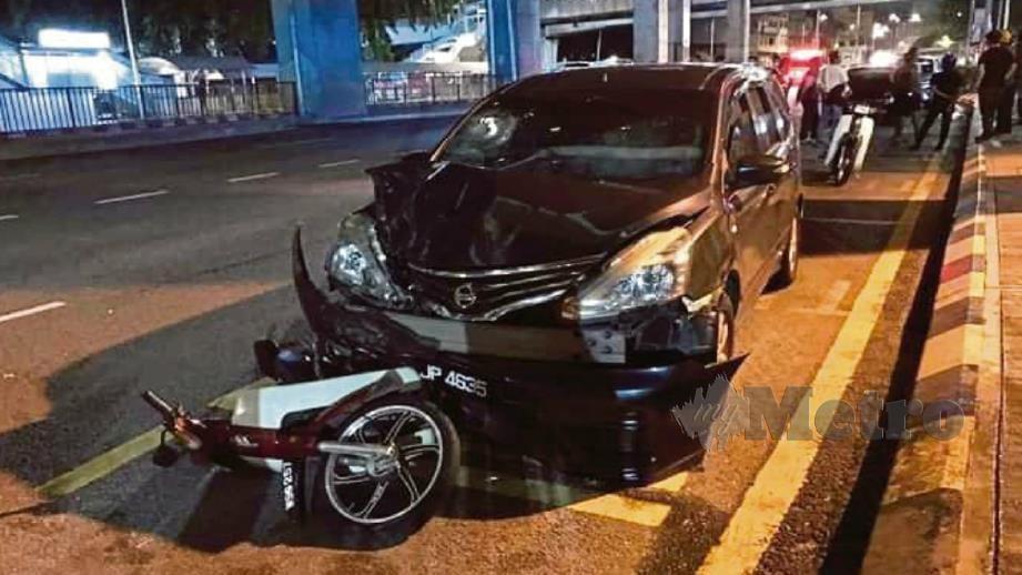 KEMALANGAN yang menyebabkan seorang lelaki maut disyaki dilanggar lelaki mabuk di Lebuhraya Sultan Iskandar menghala ke ibu negara, pada 1 Jun lalu. FOTO Ihsan FB