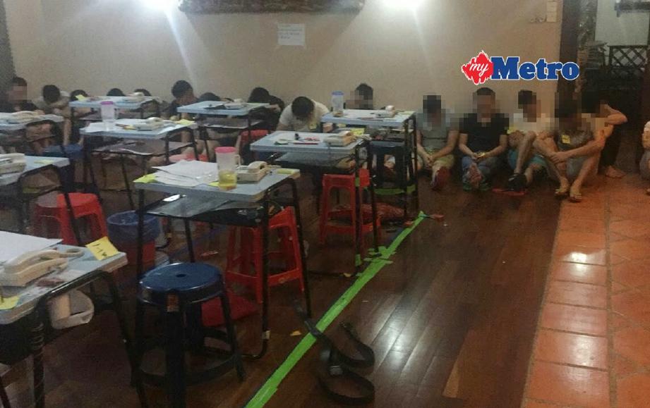 Antara anggota sindiket Macau Scam yang ditahan dalam serbuan semalam. - Foto Ihsan JSJK