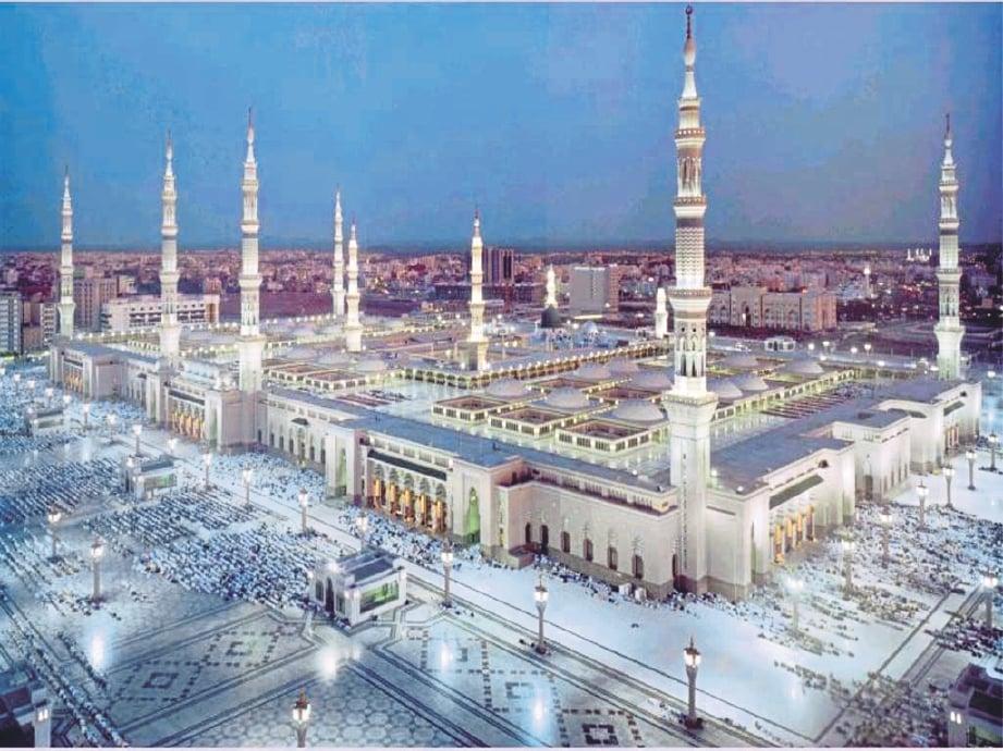 MASJID Nabawi yang dibina Rasulullah di Madinah menjadi saksi perjuangan gigih Nabi Muhammad SAW menyebarkan agama Islam di Tanah Arab. GAMBAR hiasan
