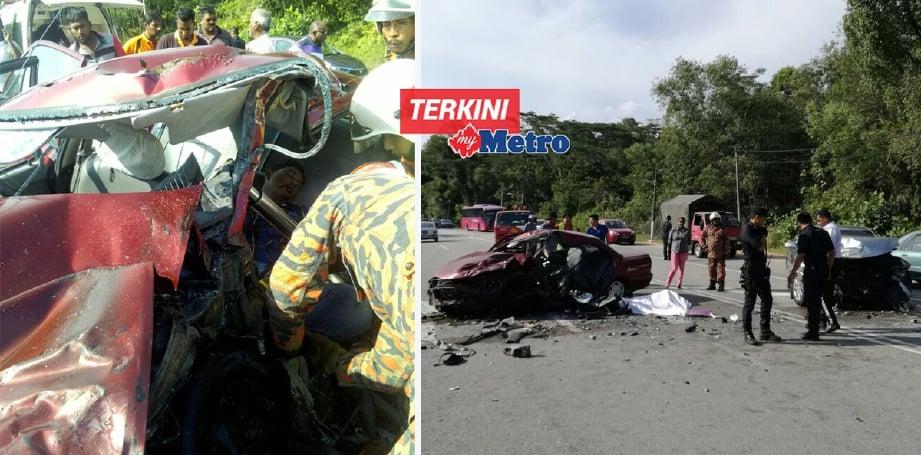 Bomba berusaha mengeluarkan mangsa yang tersepit dalam kemalangan membabitkan dua kereta di Jalan Gopeng berhampiran Taman Changkat Golf, Gopeng. - Foto Ihsan Bomba