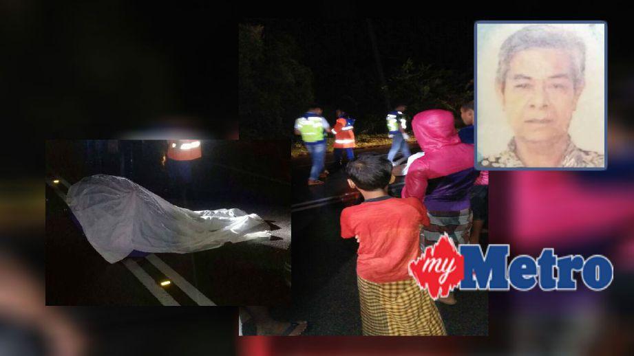 LELAKI meninggal dunia selepas basikal ditunggang dirempuh Perodua Alza. (Gambar kecil) Abdullah Mamat. FOTO ihsan polis dan pembaca.