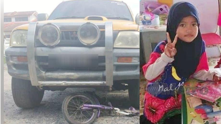 Kenderaan yang melanggar mangsa (kiri) dan Nur Aira Awatif (kanan) yang maut dalam kemalangan itu. FOTO Rosli Ilham