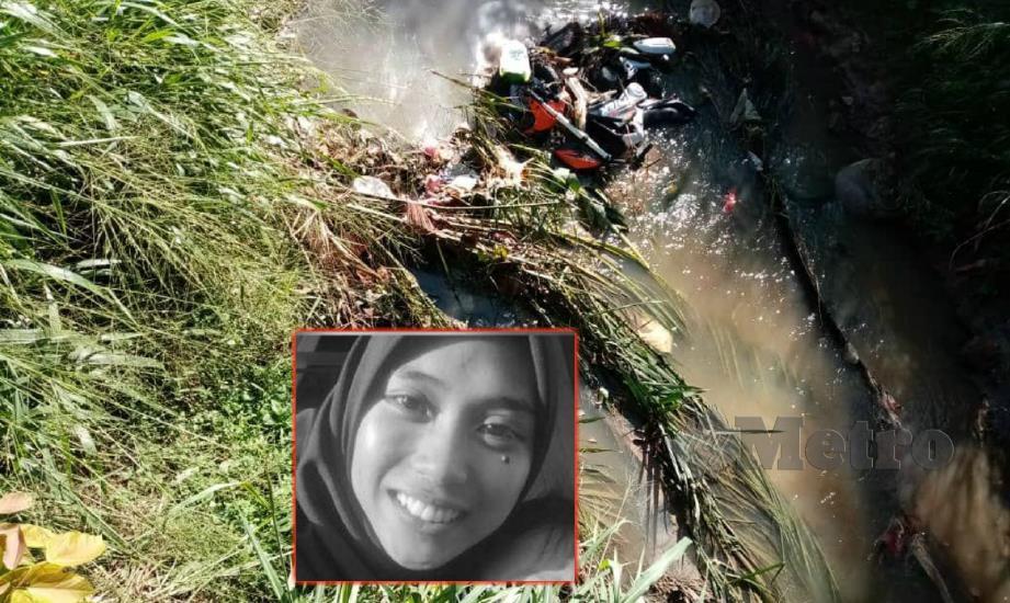 MAYAT Nurfarahida (gambar kecil) ditemui bersama motosikalnya di kawasan anak sungai di Solok, Tangkak, hari ini. FOTO Ahmad Ismail.