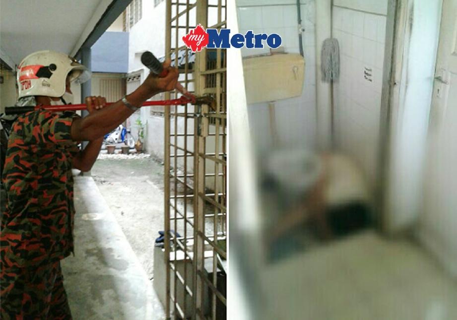 Anggota bomba memecahkan mangga sebelum menemui mayat mangsa dalam bilik air. - Foto ihsan Bomba