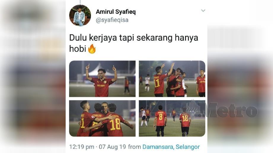 Amirul Syafieq berkongsi kenangan ketika bergelar pemain bola sepak. Ihsan Twitter Amirul Syafieq