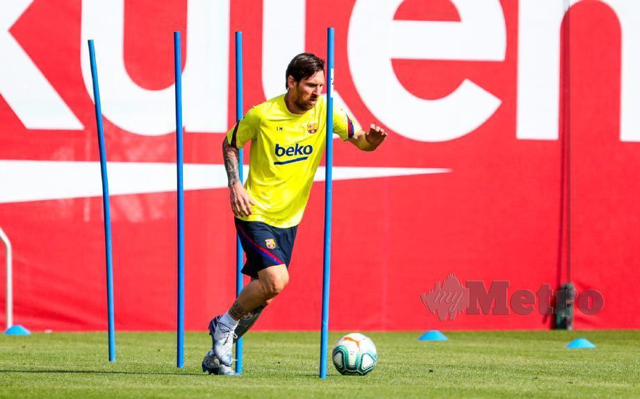 Messi jalani latihan individu. FOTO Agensi