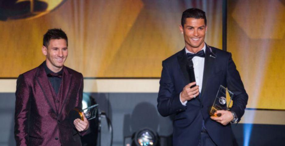 MESSI dan Ronaldo ketika menghadiri  FIFA Ballon d'Or Gala  di Zurich, Switzerland pada 12 Januari 2015.  - FOTO Agensi