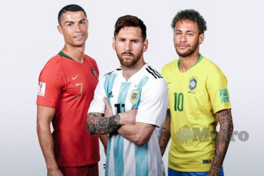 Neymar (kanan) sehebat Cristiano Ronaldo (kiri) dan Lionel Messi. FOTO File Agensi
