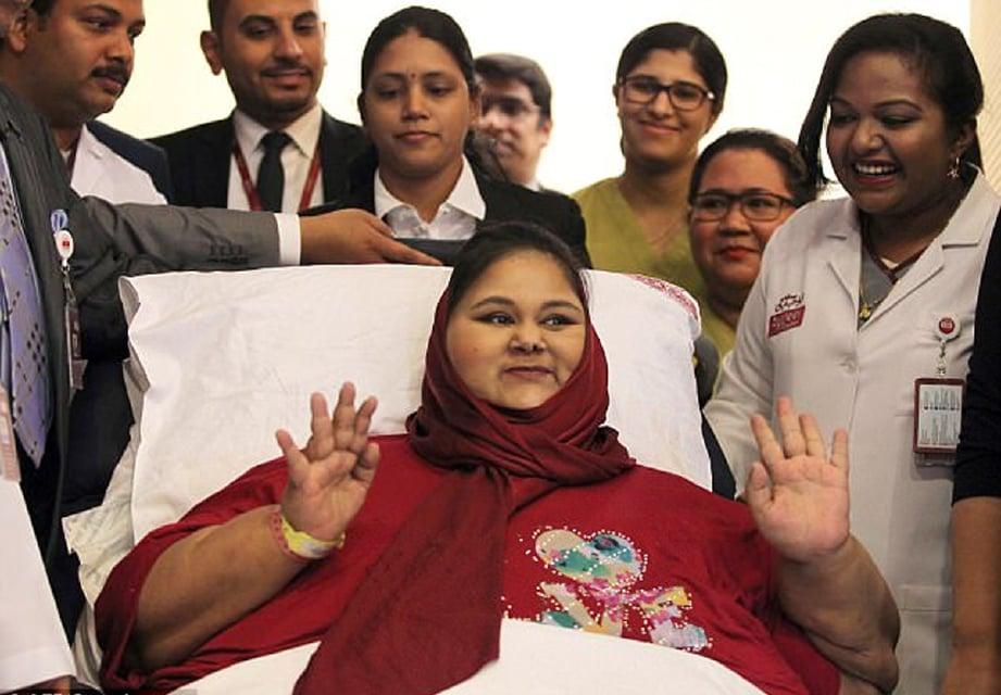 Eman Ahmed Abd El Aty ketika sidang media di Abu Dhabi, UAE, Julai lalu. - Foto AFP (Fail)