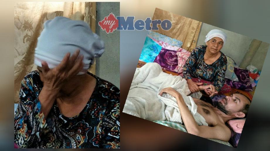 Fatimah tabah menguruskan Mohd Azizi yang terlantar sejak enam tahun lalu. FOTO/ Ramli Ibrahim