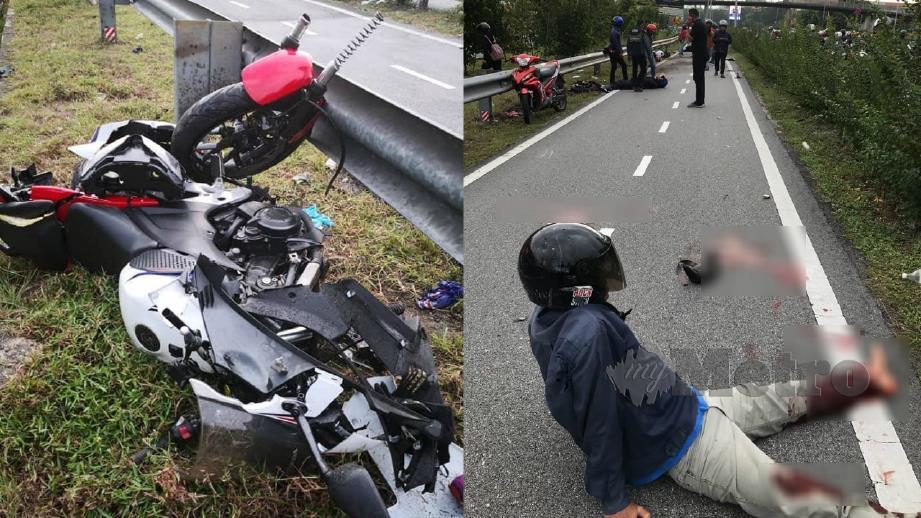 SALAH sebuah motosikal yang rosak akibat kemalangan. (gambar kecil) Salah seorang mangsa yang cedera. FOTO IHSAN PEMBACA