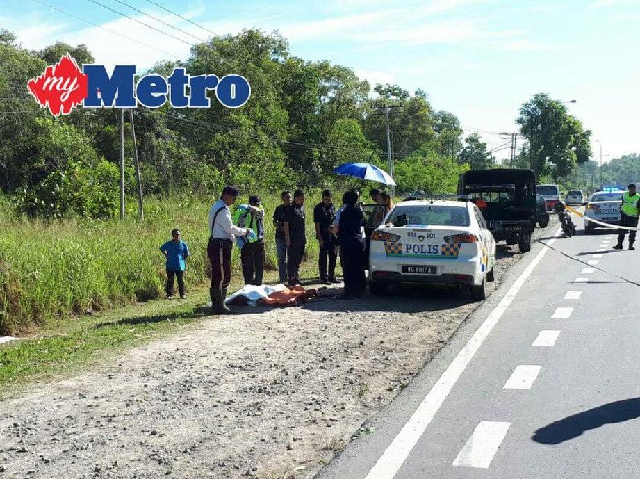 Kemalangan mengorbankan wanita di Jalan Tuaran Bypass, berhadapan Sekolah Menengah Agama Inanam, Kota Kinabalu, semalam. FOTO Junaidi Ladjana