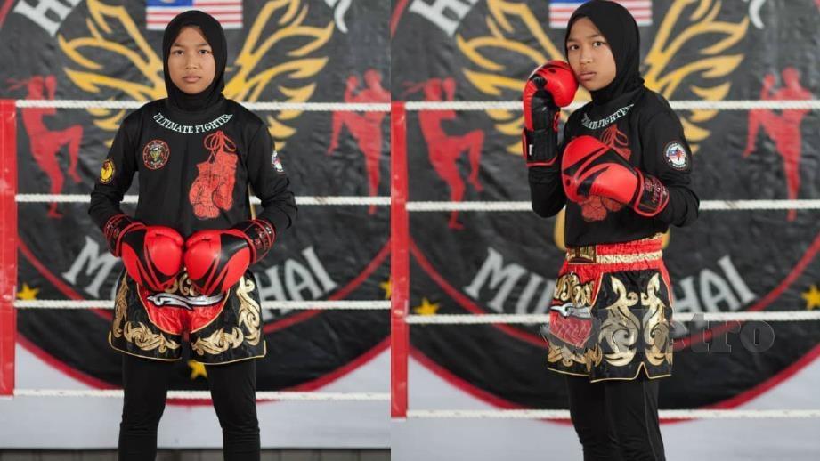 NUR Aisyah Alyaa menyertai Muay Thai sejak dua tahun lalu dan penampilan berhijab tidak menghalangnya bergiat aktif. FOTO ihsan Mohd Shaid Samsuri.