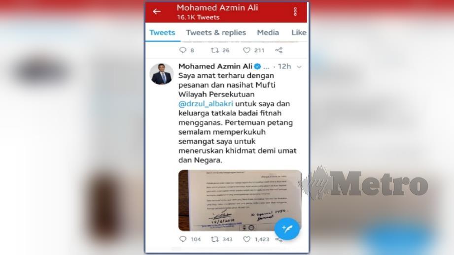 Tweet balas Azmin kepada nasihat Mufti WP hari ini.