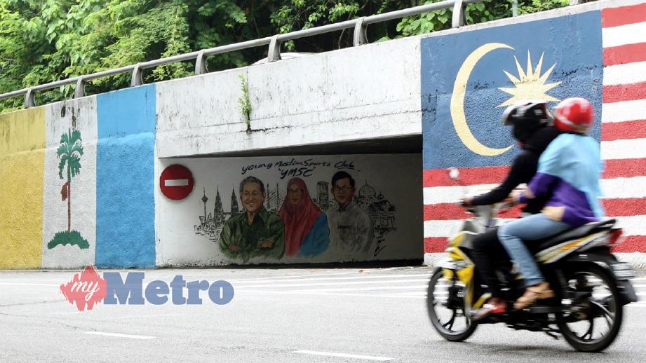 LUKISAN mural wajah pemimpin negara dan negeri di Jalan Tanjung Bungah. FOTO/VIDEO Danial Saad