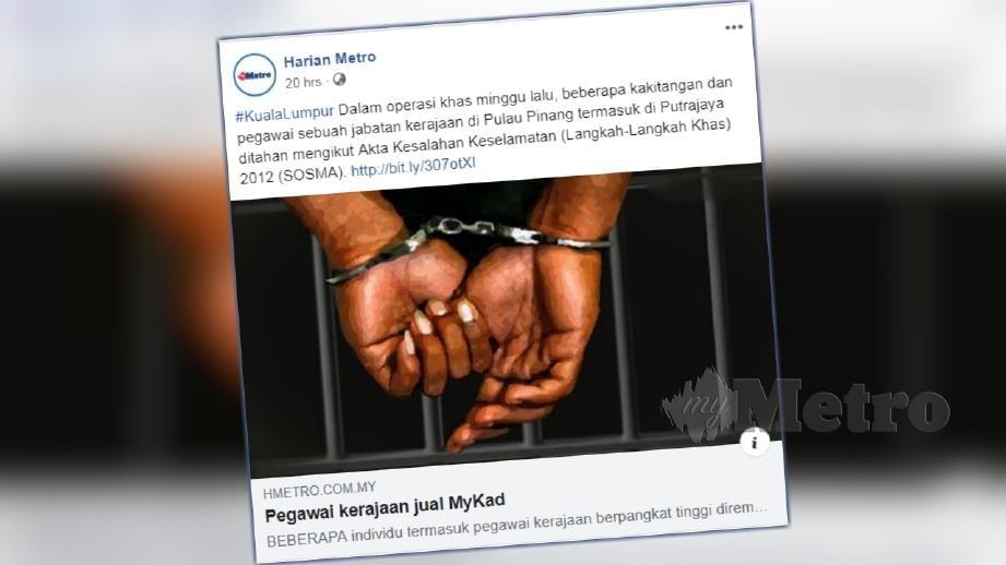 Laporan portal berita Harian Metro malam tadi.