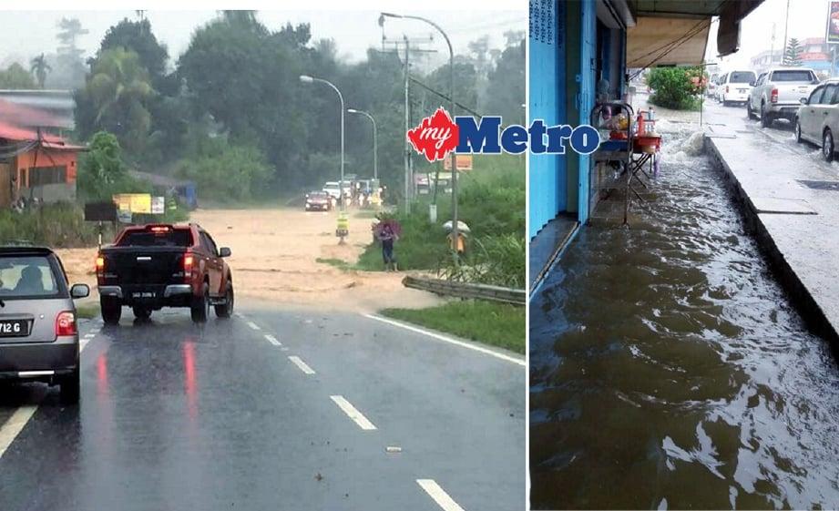 Jalan raya dan kedai di pekan Ranau turut ditenggelami air. - Foto CLEO WILL
