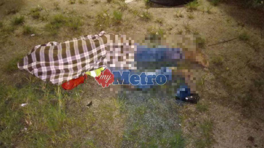 Mangsa maut di lokasi kejadian. FOTO ihsan polis