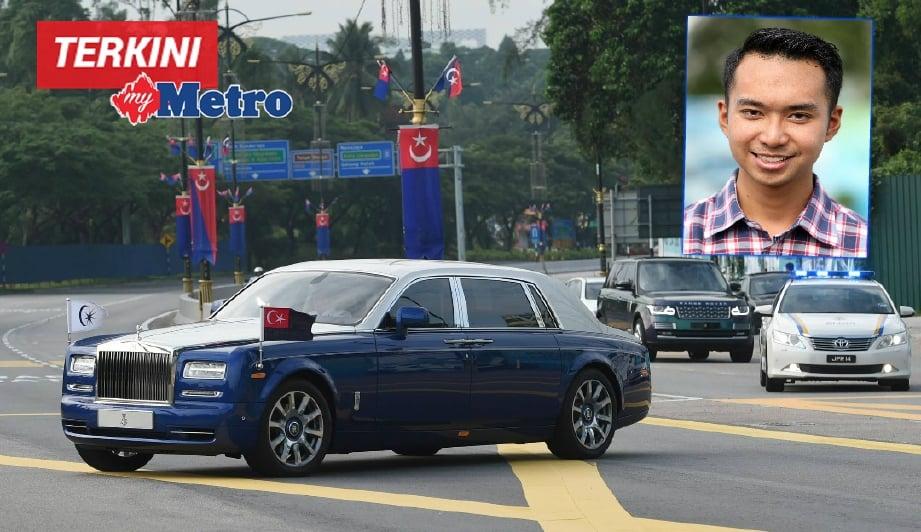 Kenderaan yang membawa Sultan Ibrahim Iskandar memasuki perkarangan Istana Bukit Serene. Gambar kecil, Muhd Zakir. FOTO Mohd Azren Jamaludin