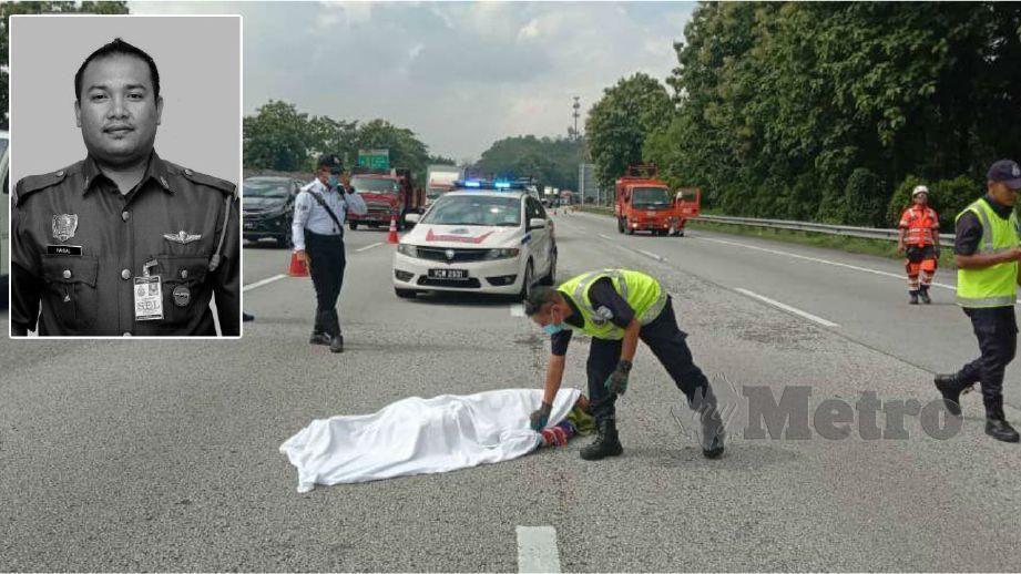 NIK Mohd Faisal maut dalam kemalangan di Jalan Persiaran Kota Klang menghala ke Pelabuhan Klang. FOTO ihsan bomba