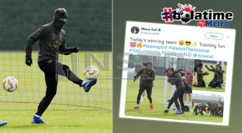 Ozil menulis di Twitter selepas berlatih bersama rakan sepasukan di Colney. FOTO REUTERS/Twitter Mesut Ozil