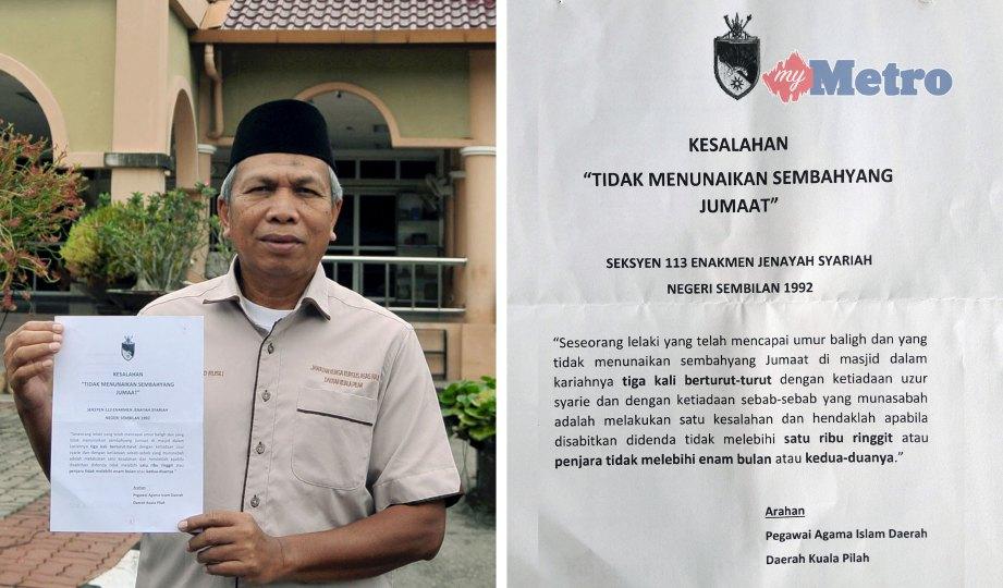 Lelaki baligh yang tidak tunaikan solat Jumaat di Negeri Sembilan bakal didenda RM1000 atau penjara sehingga 6 bulan