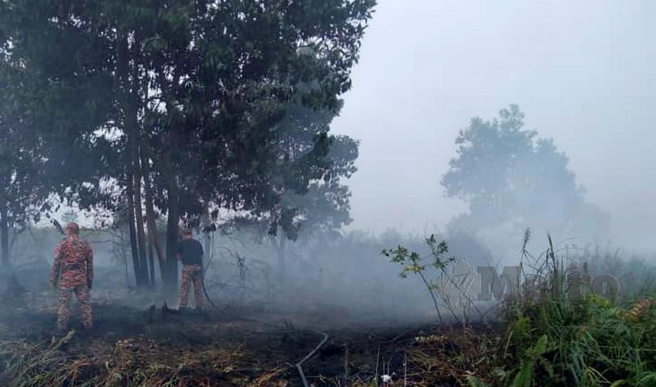 ANGGOTA Bomba dan Penyelamat memadam kebakaran belukar di Miri, 13 Ogos lalu. FOTO ihsan Bomba