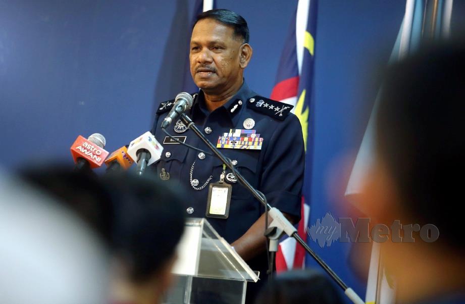 GEORGETOWN 15 OGOS 2019. Ketua Polis Pulau Pinang, Datuk T Narensagaran dalam sidang media mengenai kes jenayah siber di pusat media Ibu Pejabat Polis Kontinjen Pulau Pinang. NSTP/DANIAL SAAD