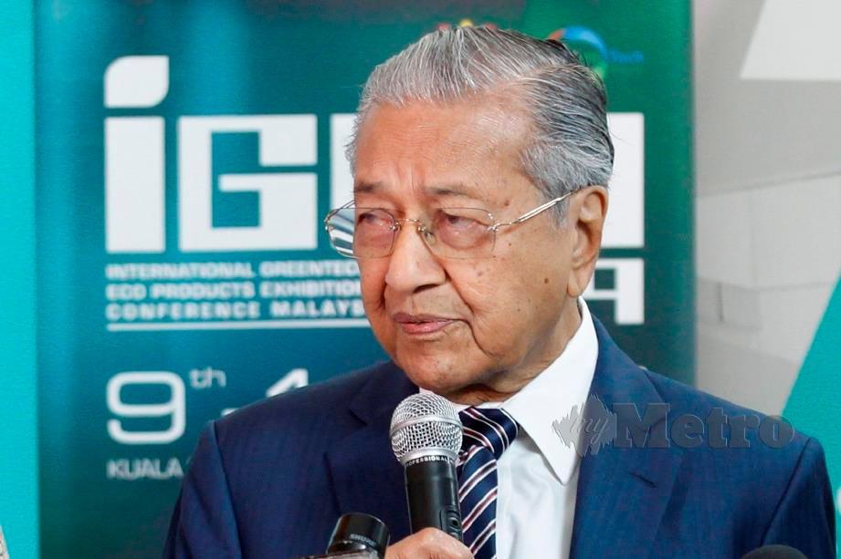 DR Mahathir ketika sidang media selepas Majlis Pelancaran IGEM 2019. FOTO Aizuddin Saad