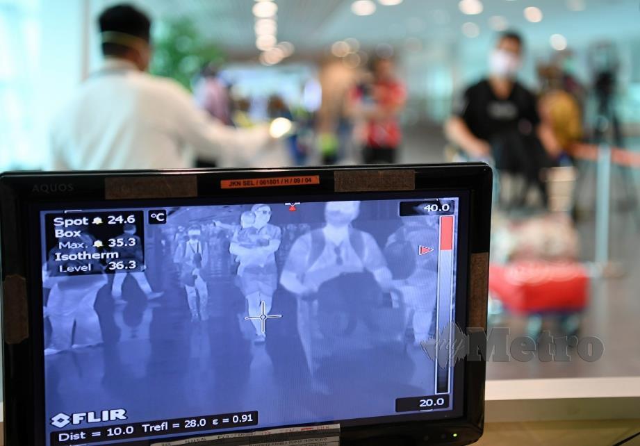 PUSAT Pemantauan Saringan Suhu Badan bagi mengesan 2019 Novel Koronavirus (2019-nCoV) yang berfungsi 24 jam di Terminal Ketibaan Lapangan Terbang Antarabangsa Kuala Lumpur 2 (klia2). FOTO Bernama