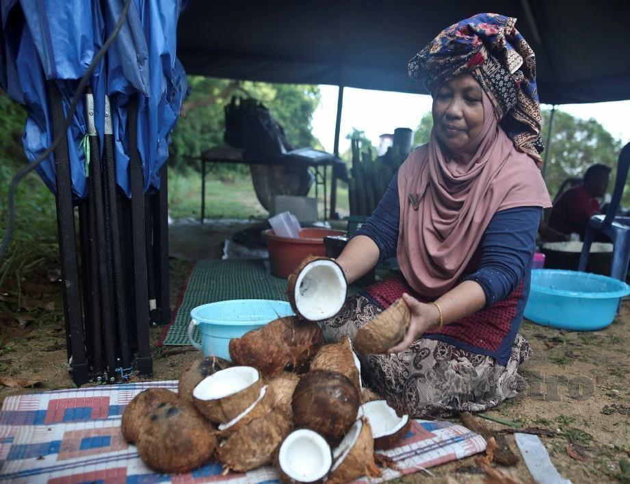 Penduduk menyediakan kelapa untuk dibuat santan dan diletakkan ke dalam buluh lemang. FOTO GHAZALI KORI