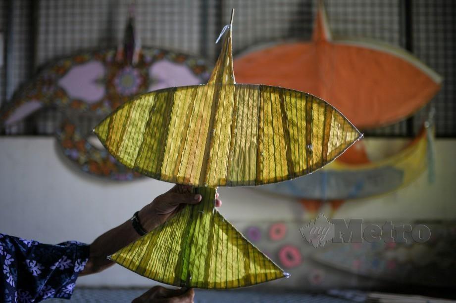 PAK Non menunjukkan Wau Helang menggunakan daun palas yang sudah siap. FOTO Bernama