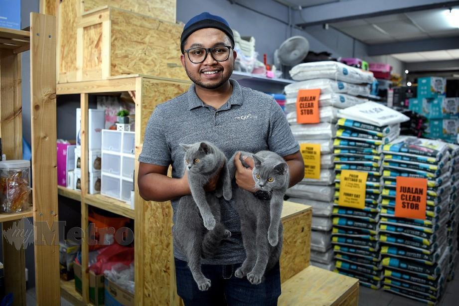 MUHAMMAD Aswad bergambar bersama dua ekor kucing jenis British Shorthair yang dihantar oleh pelanggan untuk dimandikan di kedainya. FOTO Bernama