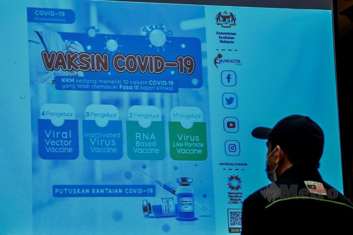 SKRIN memaparkan maklumat Vaksin Covid-19 ketika sidang media perkembangan Covid-19 oleh Ketua Pengarah Kesihatan Tan Sri Dr Noor Hisham Abdullah di Putrajaya. FOTO BERNAMA