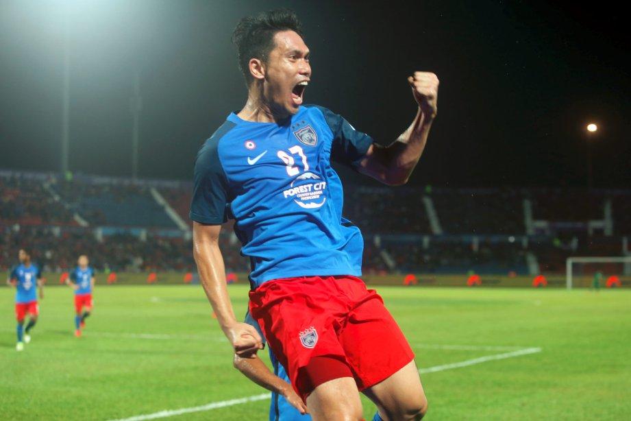 FADHLI Shah meraikan gol kedua JDT ketika menewaskan PKNP FC pada aksi Liga Super di Stadium Tan Sri Hassan Yunos, sebentar tadi. Foto HAIRUL ANUAR RAHIM
