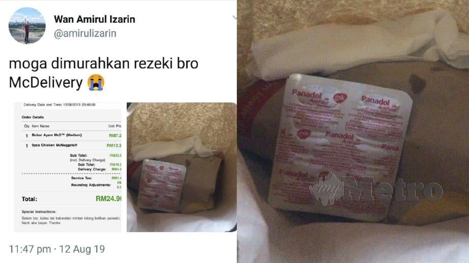CIAPAN Wan Amirul yang mendapat perhatian bersama bungkusan makanan mengandungi panadol. FOTO IHSAN WAN AMIRUL IZARIN WAN IZWAN SHAH