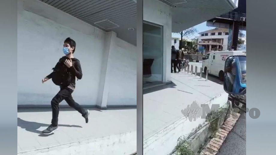 SUSPEK melarikan diri selepas cubaan samun gagal. (Gambar kanan) Rakaman cubaan samun di kaki lima sebuah bank di pekan Batu Gajah yang tular. FOTO tular media sosial