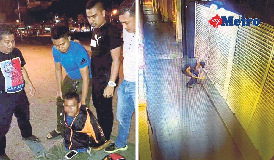SUSPEK cuba melarikan diri namun berjaya diberkas pihak polis. Gambar kanan, suspek yang memecah masuk dirakam CCTV premis berkenaan. FOTO Hasrawati Syarifuddin