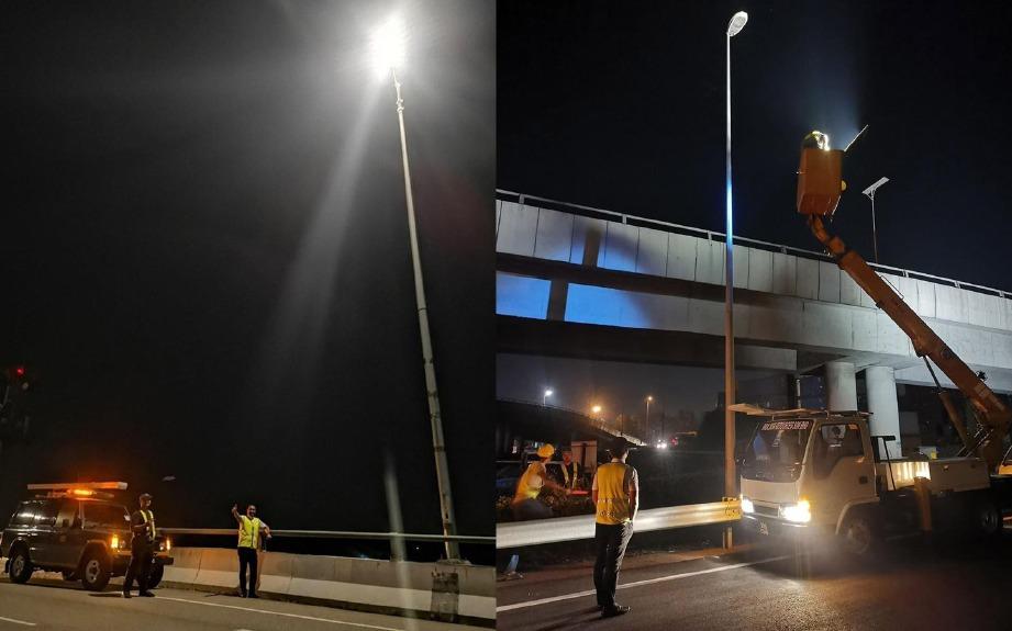 AZMIZAM melihat kerja pemasangan lampu LED berkuasa solar di pasang di beberapa kawasan di Pelabuhan Klang. FOTO IHSAN FB ADUN PELABUHAN KLANG