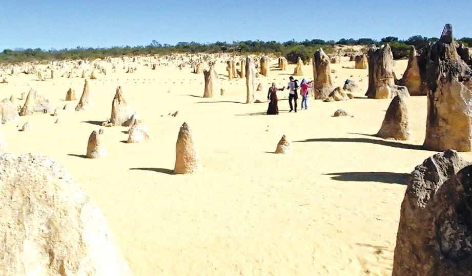 PINNACLES Dessert di Nambung National Park, antara keajaiban di Australia berikutan batu berdiri yang wujud sejak beratus tahun dahulu.