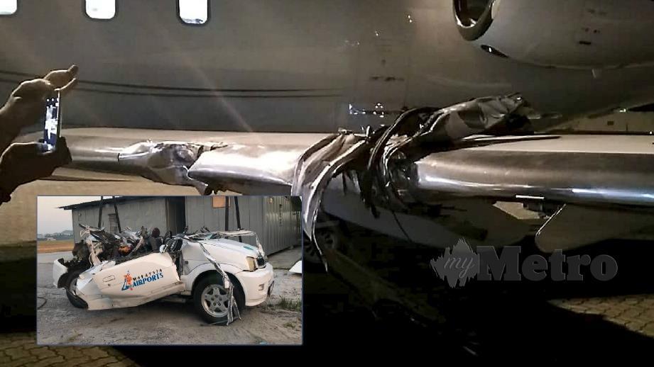 KENDERAAN unit kejuruteraan MAHB dipandu Mohd Ruzaimi berlanggar dengan pesawat, pada 3.20 pagi. Foto Ihsan Pembaca