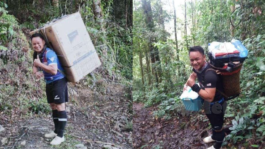 HARRY memikul kotak berisi peti ais untuk kemudahan murid asrama SK Longkungongon, Penampang. (Gambar kanan) Harry mengangkat barang untuk keperluan murid.