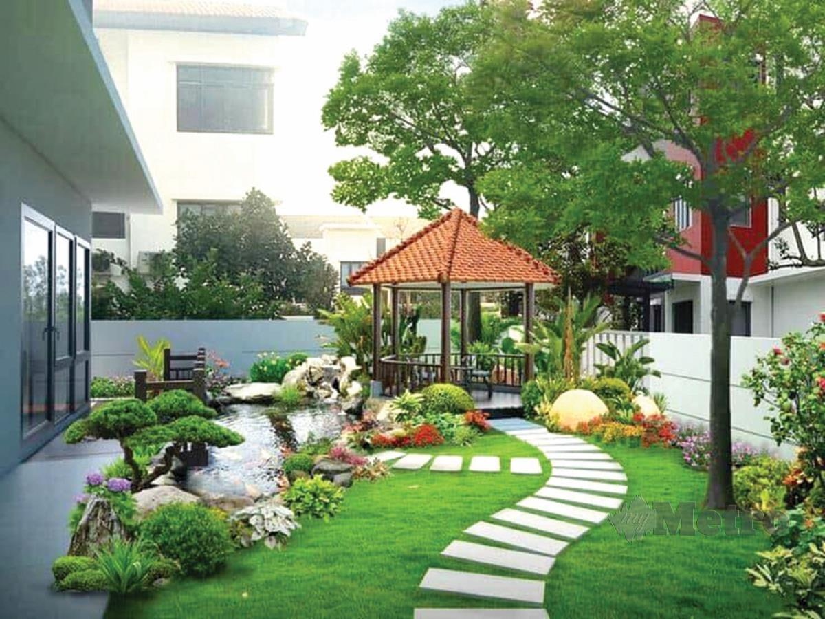PERSEKITARAN halaman rumah dengan elemen semula jadi bantu beri ketenangan pada penghuni