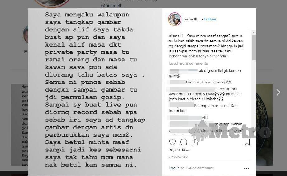 NISMEL membalas kenyataan netizen di Instagram.